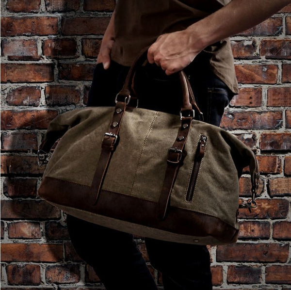 Men's Leather & Canvas Duffle Bag Vintage for Luggage, Travel, Weekender - Army Green
