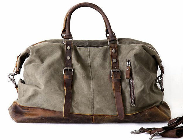 Men s Leather   Canvas Duffle Bag Vintage for Luggage, Travel, Weekender -  Army Green 0d5607ea7b