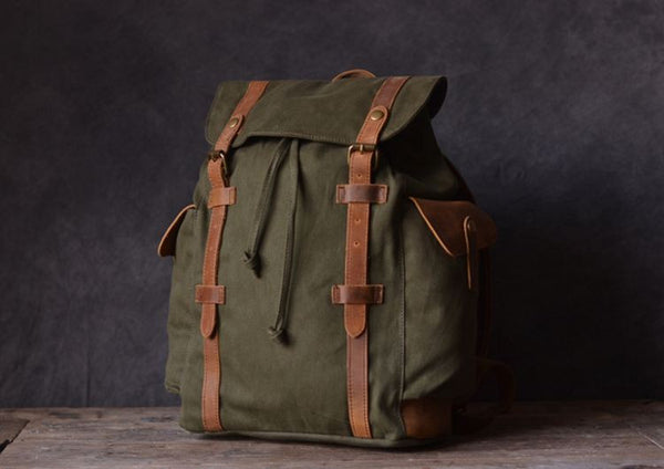 Vintage Outdoor Hiking School Canvas Laptop Backpack