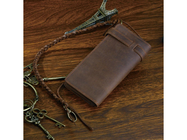 Leather Long Biker Wallet Organizer Leather Chain - Serbags  - 4