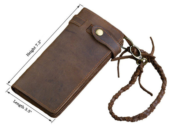 Leather Long Biker Wallet Organizer Leather Chain - Serbags  - 8