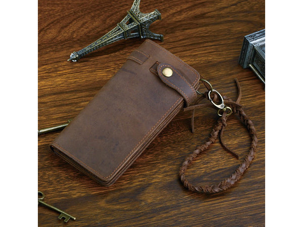 Leather Long Biker Wallet Organizer Leather Chain - Serbags  - 5