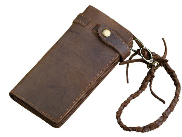 Leather Long Biker Wallet Organizer Leather Chain - Serbags  - 3