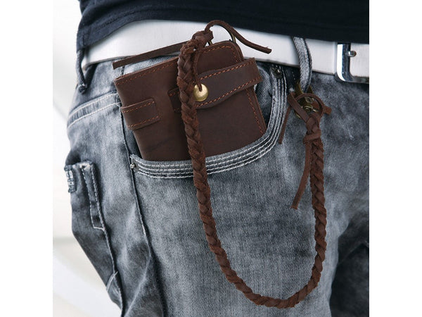 Leather Long Biker Wallet Organizer Leather Chain - Serbags  - 2