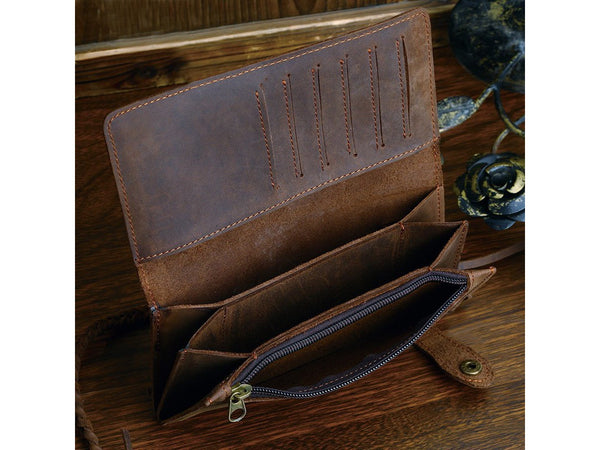 Leather Long Biker Wallet Organizer Leather Chain - Serbags  - 6