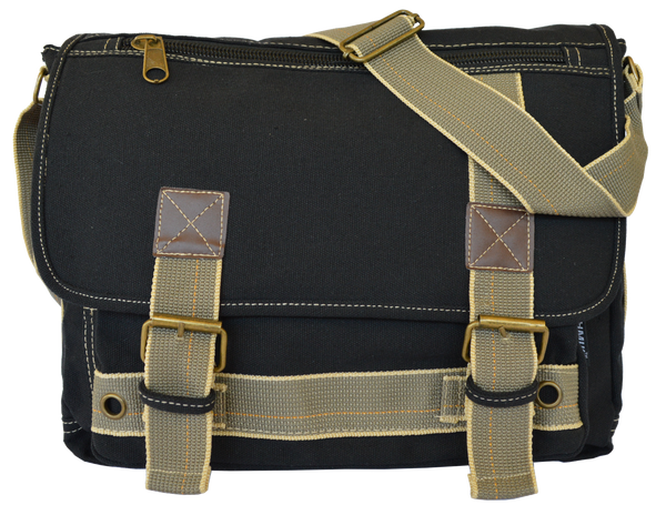 Black Canvas Messenger Bag - Serbags  - 2