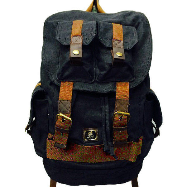 Black Canvas Heavy Duty Rucksack Backpack with Many Pockets - Serbags  - 2