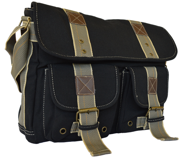 Black Classic Canvas Messenger Bag - Serbags  - 2