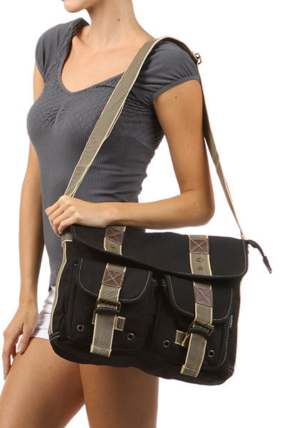 Black Classic Canvas Messenger Bag - Serbags  - 6