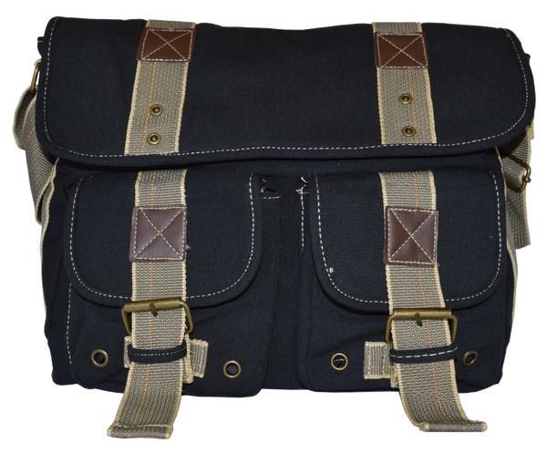 Black Classic Canvas Messenger Bag - Serbags  - 1