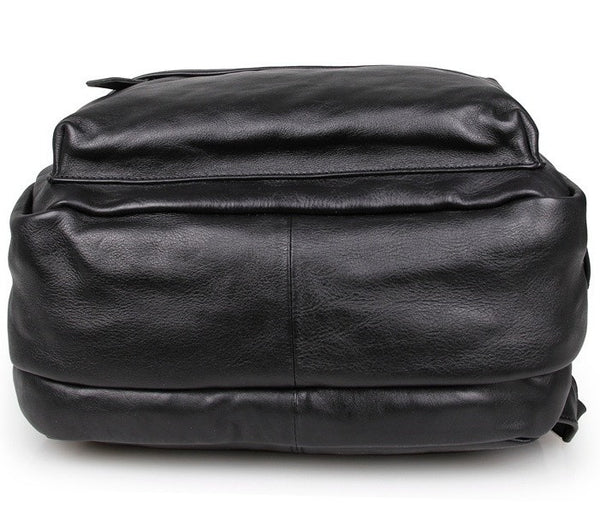 Bottom view - Stylish black leather backpack by Serbags