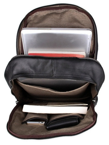 Interior compartments - Black Leather Backpack Classic Style by Serbags