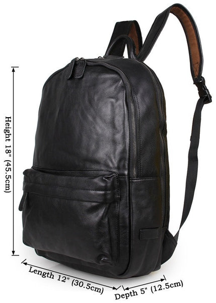 Size chart for the classic leather backpack by Serbags