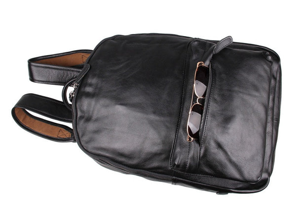 Simple black leather backpack by Serbags