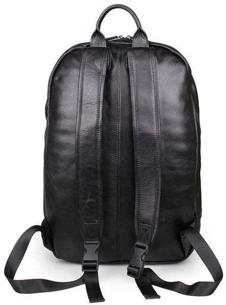 Stylish black leather backpack by Serbags