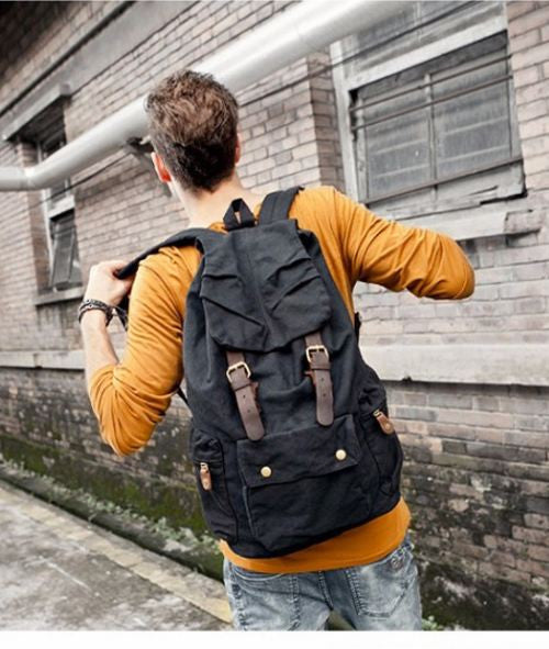 Multi-Pocket Hiking Military Rucksack with Leather Accents on Black & Brown