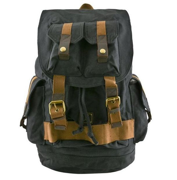 Multi-Pocket Heavy Duty Backpack with Adjustable Shoulder Straps & Premium Metal Detailings