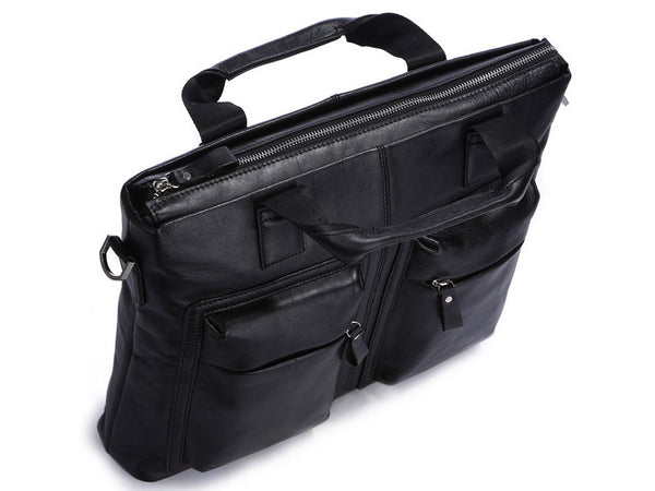 Black Leather Casual & Business Briefcase Laptop Bag - Serbags  - 9