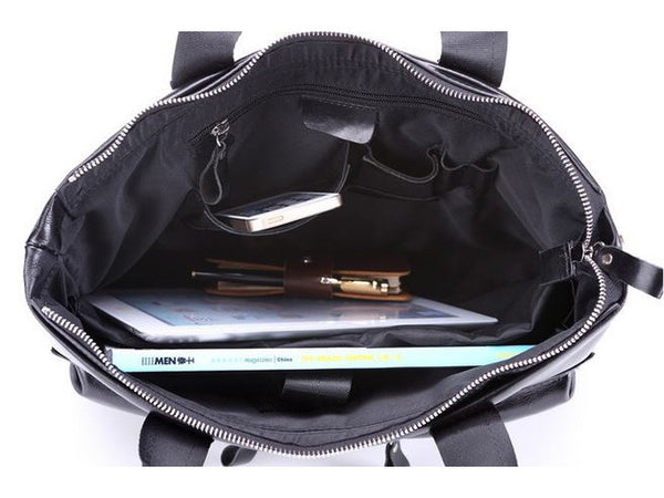 Black Leather Casual & Business Briefcase Laptop Bag - Serbags  - 16