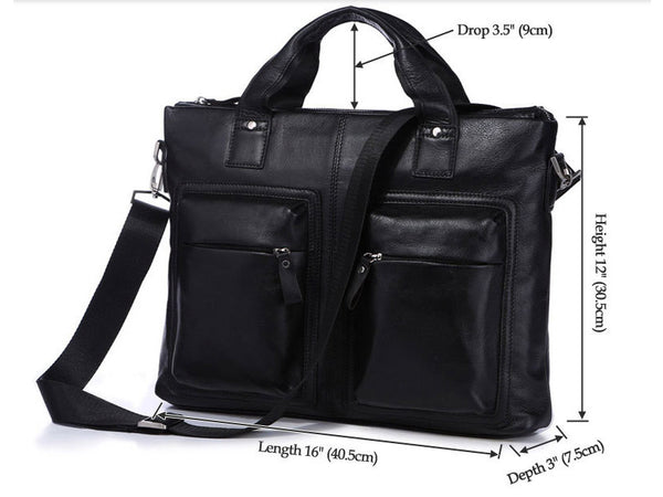 Black Leather Casual & Business Briefcase Laptop Bag - Serbags  - 7