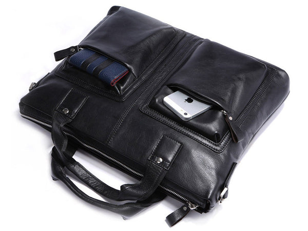 Black Leather Casual & Business Briefcase Laptop Bag - Serbags  - 11