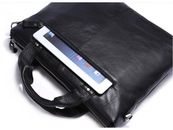 Black Leather Casual & Business Briefcase Laptop Bag - Serbags  - 13