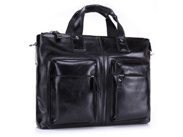 Black Leather Casual & Business Briefcase Laptop Bag - Serbags  - 3