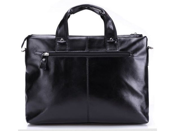 Black Leather Casual & Business Briefcase Laptop Bag - Serbags  - 5