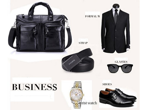 Black Leather Casual & Business Briefcase Laptop Bag - Serbags  - 12