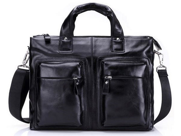 Black Leather Casual & Business Briefcase Laptop Bag - Serbags  - 4
