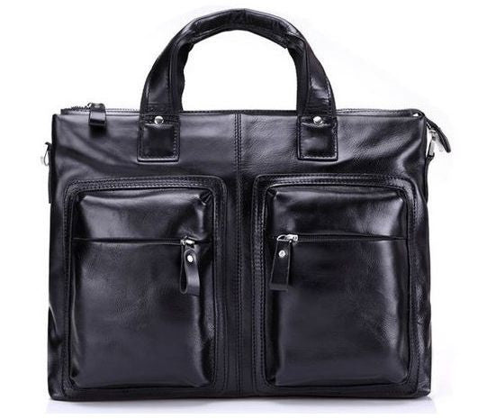 Business & Casual Unisex Genuine Black Leather Laptop Briefcase with Cushioned Inner Laptop Compartment