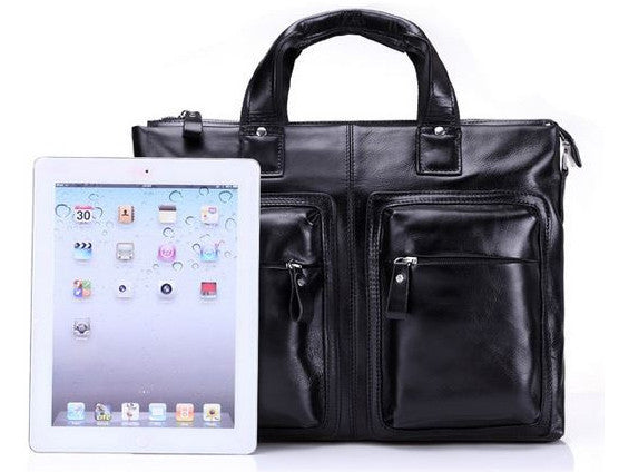 Black Leather Casual & Business Briefcase Laptop Bag - Serbags  - 8