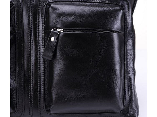 Black Leather Casual & Business Briefcase Laptop Bag - Serbags  - 18