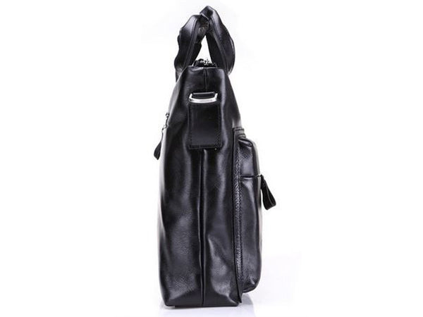 Black Leather Casual & Business Briefcase Laptop Bag - Serbags  - 6