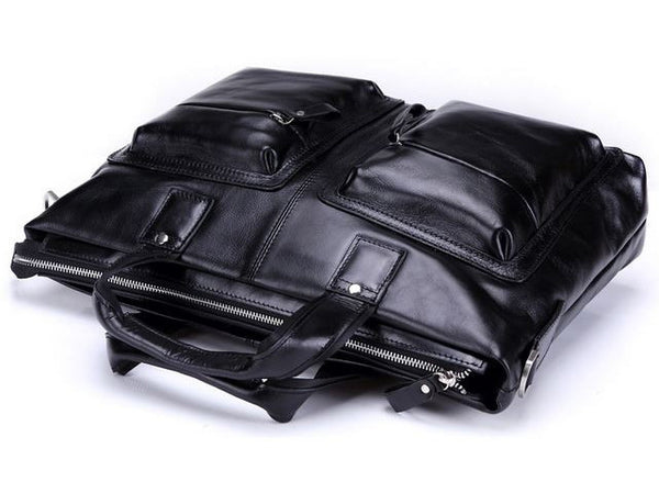 Black Leather Casual & Business Briefcase Laptop Bag - Serbags  - 10