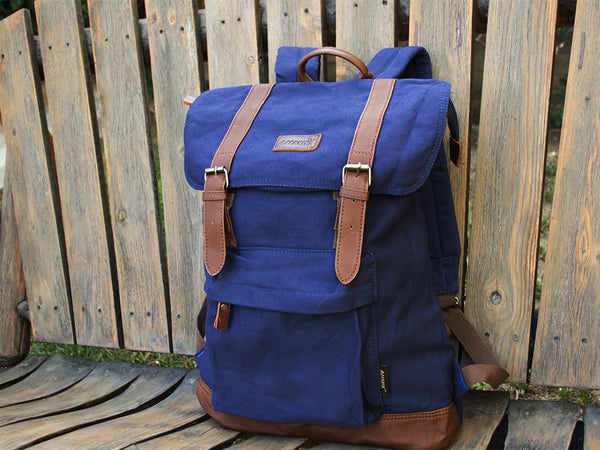 Blue School Backpack with Front Pocket - Serbags  - 4