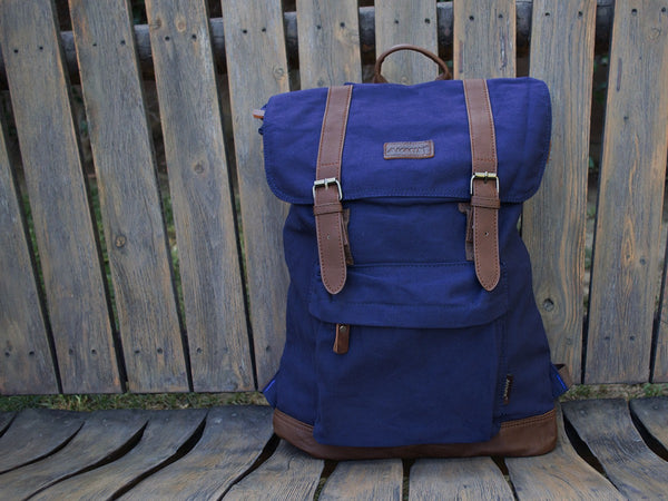 Blue School Backpack with Front Pocket - Serbags  - 3