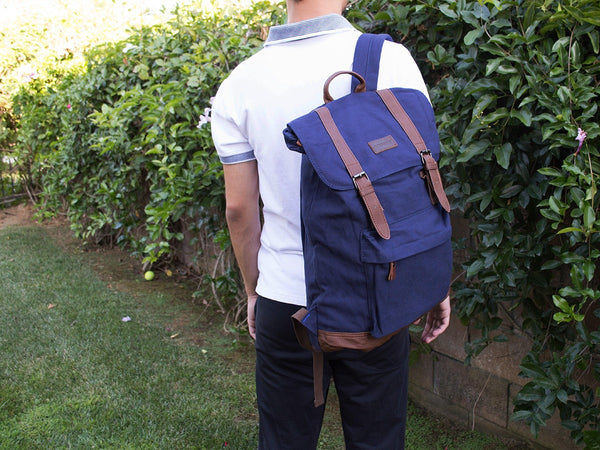 Blue School Backpack with Front Pocket - Serbags  - 7