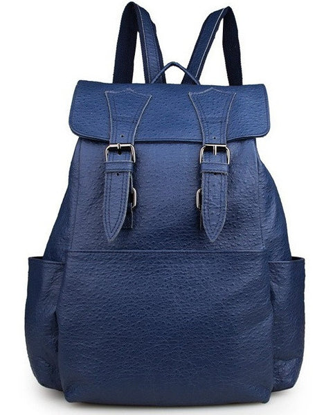 Blue Leather Backpack Daypack for School