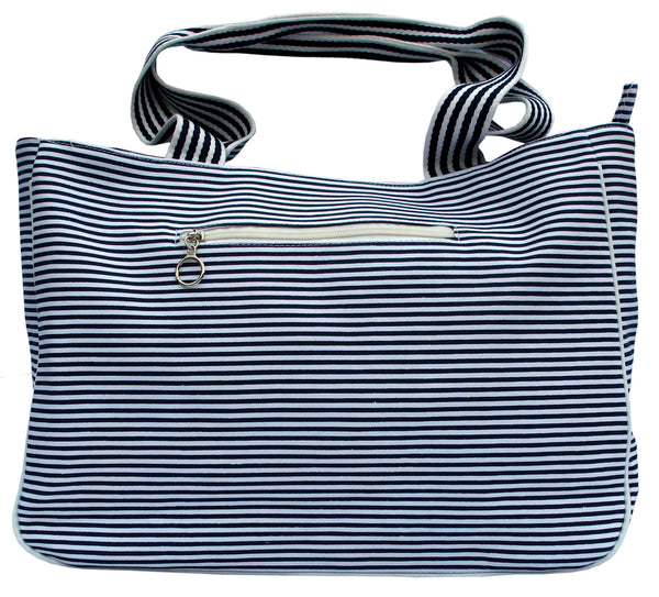 Zebra Blue Striped Tote Bag - Serbags  - 3