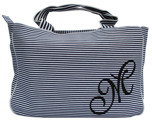 Zebra Blue Striped Tote Bag - Serbags  - 1