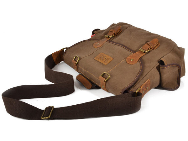 Brown Canvas & Leather Messenger Bag - Serbags  - 10