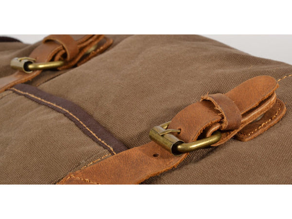 Brown Canvas & Leather Messenger Bag - Serbags  - 4