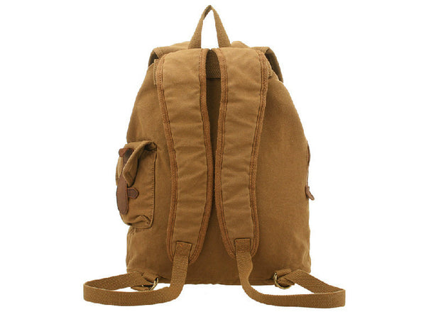 Back view of Brown Canvas  & Leather Casual Travel Rucksack Backpack - Serbags - 10