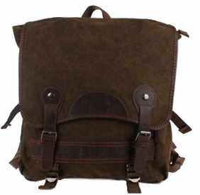 Brown Canvas Vintage Backpack Leather Trims - Serbags  - 1