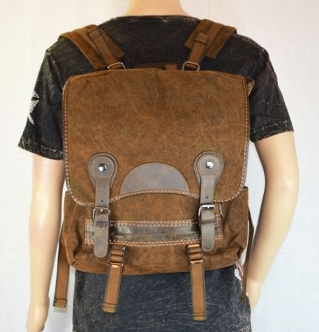Brown Canvas Vintage Backpack Leather Trims - Serbags  - 5