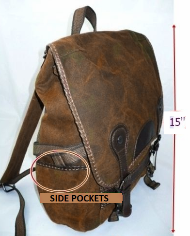 Brown Canvas Vintage Backpack Leather Trims - Serbags  - 2
