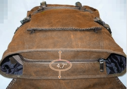 Brown Canvas Vintage Backpack Leather Trims - Serbags  - 4
