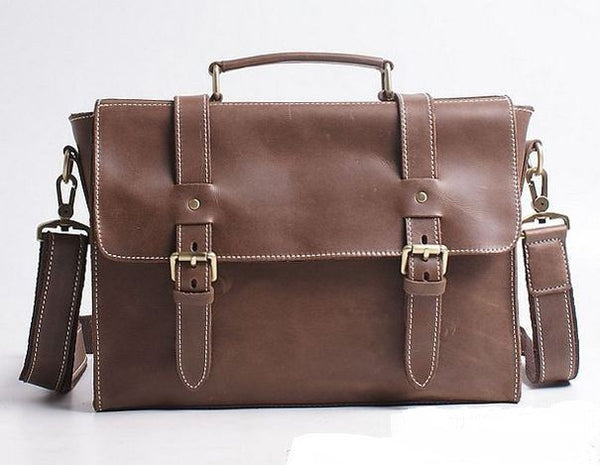 Slim & Slick  Brown Leather Bag with Multiple Compartments