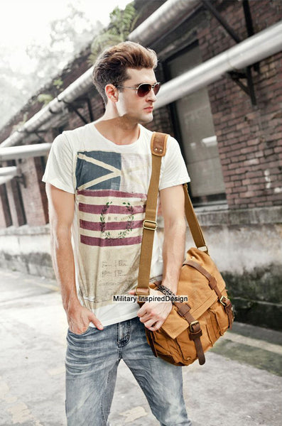 stylish mean sporting brown canvas military style messenger bag